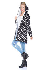 Womens Loose Fit Hoodie Spotted Cape Shrug Long Sleeve Coat One Size 8 - 14 1907