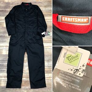 NWT $68 Craftsman XXL Navy Blue Long Sleeve Twill Coverall Teflon Jumpsuit