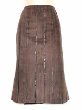Women's Vintage BALIZZA High Waist Brown 100% Leather Suede Skirt UK10 UK12 W30""