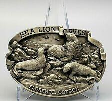 Vintage SEA LION CAVES / FLORENCE, OR Belt Buckle ~ Siskiyou Pewter ~ RARE PIECE