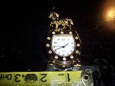 "BARBIE DOLLHOUS size WORKING MANTEL CLOCK  HORSE W/HORSESHOE 2 3/4 ""TALL"