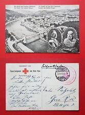 AK TETSCHEN in Böhmen 1915 Stadtansicht mit Brücke und Kaiser Wilhelm II.( 35951