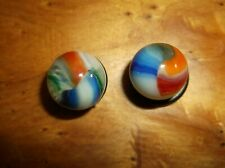 A PAIR OF MARBLE KING/VITRO AGATE HYBRID MARBLES