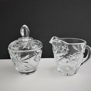 Anchor Hocking Prescut Clear Glass Lidded Sugar Bowl and Creamer Set.FS