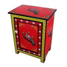 Peakcook Design Handpainted Mango Wood Nightstand Endtable with Drawer
