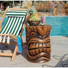 Hawaiian Grand Tiki Totem Pole Sculptural Table Tropical Luau Beach Patio Decor