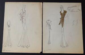 10  1931-1932 Antique Vintage Fashion Design Original Art Color Drawings Lot