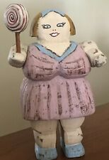 "Wolf Creek Circus Lady Folk Art Carving Karen Rankin Signed  7.5"" Plump Woman"