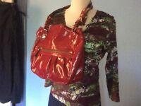 INNUE red LEATHER shoulder BAG satchel TOTE