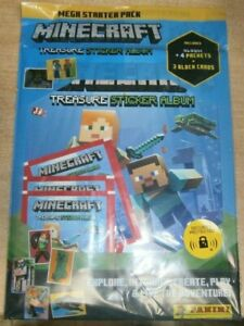 Panini Minecraft Treasure Stickers Collection: Album Starter Pack + 4 packets