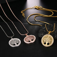 Tree Of Life Crystal Round Small Pendant Necklace Gold Silver Jewelry Fashion