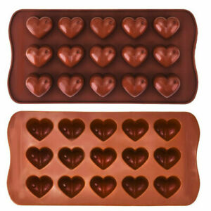 15 LOVE Heart Shape Silicone Chocolate Moulds NO-Sticking Candy Soap Mold Baking