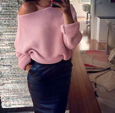 UK Womens Off Shoulder Chunky Knitted Oversize Baggy Sweater Ladies Jumper Tops