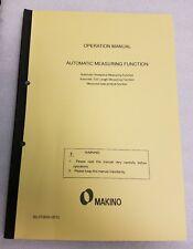 MAKINO Automatic Measuring Function  Operation Manual