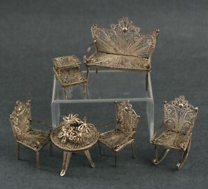 Antique .800 Silver Miniature Dollhouse Garden Furniture Table Chairs Bench NR