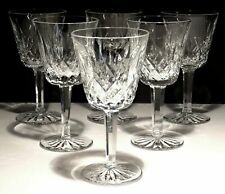 "6 WATERFORD CRYSTAL LISMORE CLARET WINE GLASSES 5 7/8"" ~ MADE IN IRELAND"
