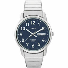 NEW Timex Watch Men's Silver-Tone SS Case Blue Dial Easy Reader T20031 WR 30M
