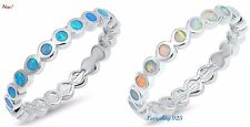 Sterling Silver 925 ROUND ETERNITY DESIGN LAB OPAL STONE RINGS 2MM SIZES 4-12