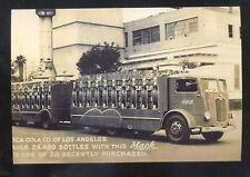 REAL PHOTO MACK TRUCK ADVERTISING LOS ANGELES COCA COLA CALIF. POSTCARD COPY