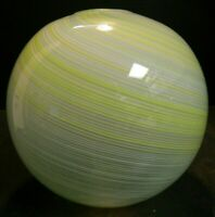 "Vintage Yellow, White & Blue Murano Striped Swirl Globe Vase 7.5"" x 7.25"" Excell"