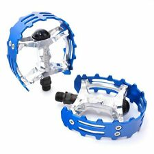 """Old school BMX XC-II Wellgo bear trap pedals 9/16"""" FOR 3 PIECE CRANKS Blue Cage"""