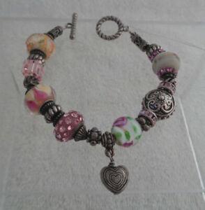 Pink Heart Charm Bracelet - Pink Crystal Bracelet - Charm Bracelet Vintage