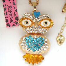 Betsey Johnson Owl& of crystal  pendant Necklace#112L