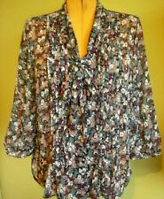 Ladies Womens Floral Chiffon Shirt  Suzanne Grae Size 14
