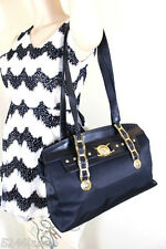 Vintage Gianni Versace Nylon & Leather Sunburst Satchel Shoulder Bag