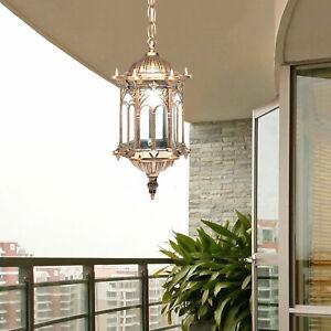 Außen Hänge Lampe Decken Laterne Balkon Terrassen Alu Glas Pendel Beleuchtung