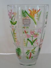 """Vintage Crystal Vase Hand Painted Floral Fifth Ave Romania Sticker 10"""" Tall"""