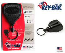 "Key-Bak SUPER48 Retractable Key Holder Belt Clip Convert Heavy Duty 48"" Kevlar"