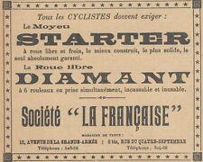 Z8012 Moyeu STARTER - Société La Française -  Pubblicità d'epoca - 1905 Old ad
