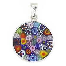 """GlassOfVenice Murano Glass Millefiori Pendant """"Multicolor"""" in Silver Frame 3/4"""""""