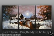 Huge Framed Snow Palette Knife Oil Painting On Canvas - Ready To Be Hung