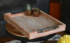 Coffee Table Tray w/ Handles - Large Decorative Farmhouse - Wooden Ottoman Tray