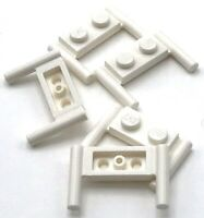 Lego 5 New White Plates Modified 1 x 2 with Handles Flat Ends Low Attachment