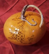 Gourd Art Hand Carved and Painted/wood-burned Lizard lidded with Humming bird