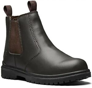 NEW mens dickies safety dealer slip -on chelsea steel toe ankle work boots shoes