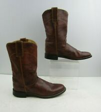 Ladies Justin Brown Leather Roper Western Cowgirl Boots Size : 6.5 B