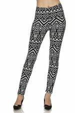 Women's New Mix Black & White Aztec Print Buttery Soft Brushed Ankle Leggings OS