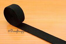 5 yards 1 inch( 25 mm ) heavy weight cotton webbing key fob strap black ZC5