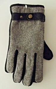 Men's wool herringbone and suede gloves with thermal lining
