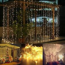 AGM 3*3M LED Curtain Lights for Wedding, Christmas and Party Decorations, Warm White