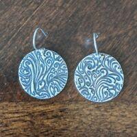Vintage 925 Sterling Silver Circular Pierced Dangle Drop Earrings Pair