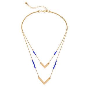 NEW Urban Anthropologie Genvera Blue Bead Gold Trim Double Drop Necklace