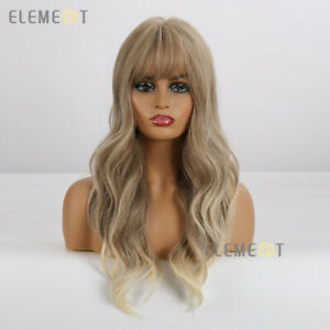 Light Blond Hair Wigs for Women Long Wavy Cosplay Party Synthetic Wig with Bangs
