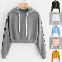 Womens Long Sleeve Hoodie Sweatshirt Letters Hooded Pullover Tops Blouse DA