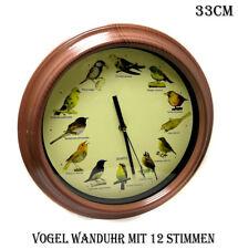 KaSul®| Wanduhr mit 12 Vogelstimmen, Vogelwelt, Durchmesser 33 cm Quarz + 3 xAA