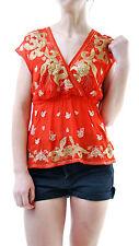 Free People Women's Ooh La La Embellished Surplice Blouse Red Size XS BCF65